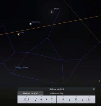 Maan, Saturnus en Mars op 7 april