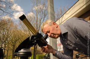 Telescopen op de zondag middag zonne observatie